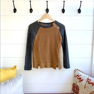 Tan and charcoal zip Sweater